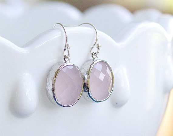 Light Pink and Silver Drop Earrings - Oval Drops on Sterling Earwire - Hammered Bezel - Pink Stone Earrings Rose Quartz Pink Jewelry Silver