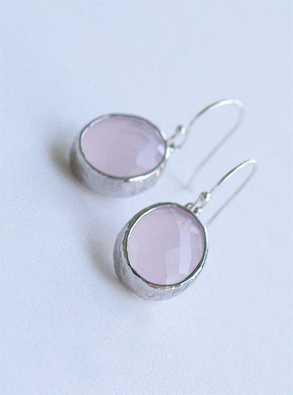 SALE - Light Pink and Silver Drop Earrings - Oval Drops on Sterling Earwire - Hammered Bezel