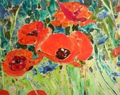 Oil Painting Poppies Original Collage Art