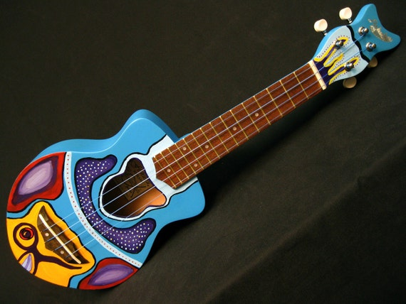 Hand-painted Fish Ukulele - Blue Humu Humu