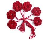 Crochet Flowers in Red x 6 , %100acrylic, 2.17inch , 5.5cm