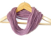 WAS 18 NOW 12 Lilac purple  Infinity Scarf, Circular Crocheted Chunky Cowl Necklace Neckwarmer Womens Scarf Circle Scarf