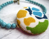 Fabric Covered Button Bracelet, Floral with Turquoise, Blue, and Yellow, Beaded Bracelet