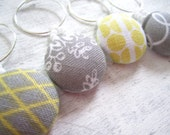 Yellow and Gray Wine Charms, Unique Wine Charms, Yellow and Gray Bridesmaids Gift