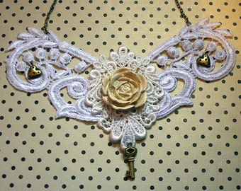Steampunk lace , cream and bronze necklace