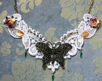 Steampunk style butterfly on lace necklace