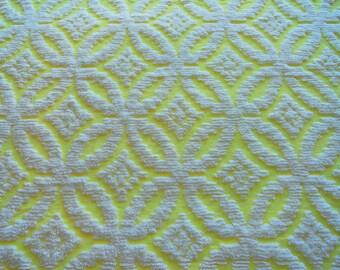 "Yellow Wedding Ring Chenille Vintage Bedspread Fabric Piece...18 x 24"""
