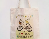 Ma Bicyclette and Bird canvas tote bag