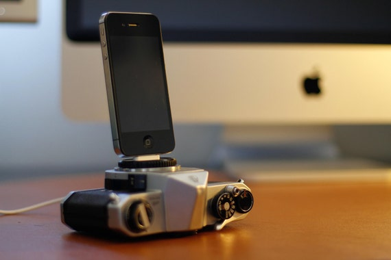 iPhone charger dock- made from a vintage camera- upcycled