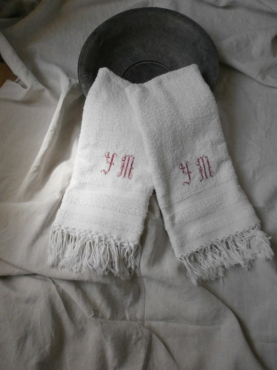 Reserved for M .French Linens Chateau Chic Monogrammed Towels,1920 Y.M.