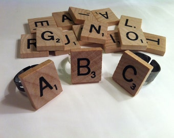 Scrabble Tile Adjustable Ring With Any Letter That You Want