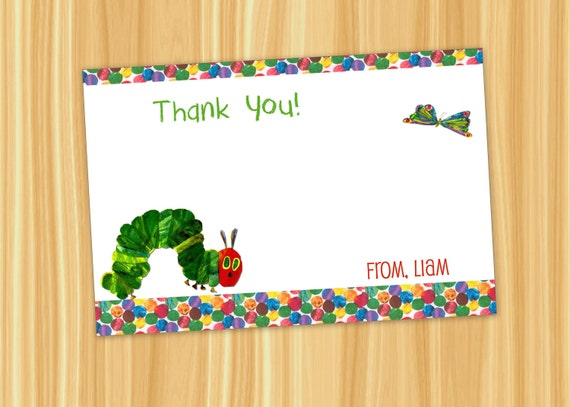 Custom Printable The VERY HUNGRY CATERPILLAR Thank You Card