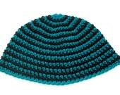 Black and Aqua Crochet Beanie