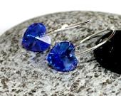 Blue Swarovski Crystal Hearts on Sterling Hoops