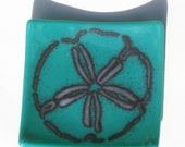 Fused Glass Teal Sand Dollar Dish with Magik Frit