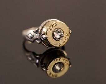 """Sterling Silver Bullet Ring-""""Gun Girl""""-Size 7 or 8 - Free Shipping U.S. or Canada Shipping"""