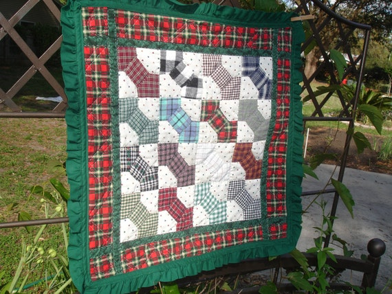 Quilt Table Runner, Wall Hanging, Country Cottage Bow Ties, multi colored, Square, Ruffles