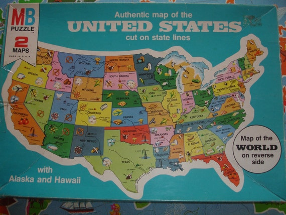 Vintage United States Puzzle, 1975, & World puzzle, Milton Bradley, 2 maps, authentic, USA