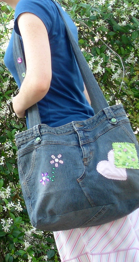 Blue Jean Purse, Upcycled Denim tote for small laptop, Ladies shoulder bag with rhinestones