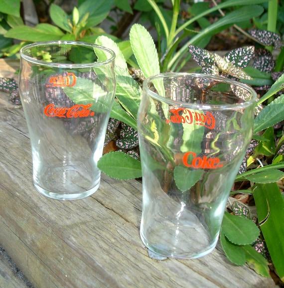 "Vintage Coca Cola glasses, set of two, mini Coke, juice cup, 4"" tall, soda"