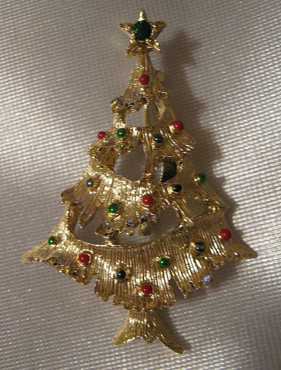 Vintage Christmas Tree Pin Brooch GERRYS Enamel & Rhinestone Signed