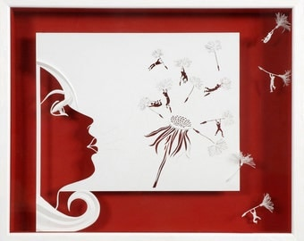 AIR - Paper cut and paper sculpture - photographic reproduction art card