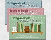 Bring a Book BABY SHOWER INVITATIONS Build-a-Library (print your own) Personalized