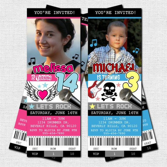 CONCERT TICKET INIVITATIONS Rock Star Birthday Party - (print your own)