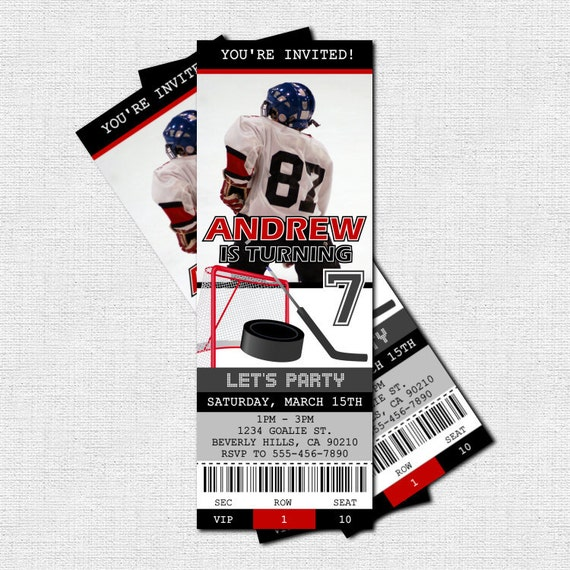 HOCKEY TICKET INVITATIONS Birthday Party (print your own) Personalized ...