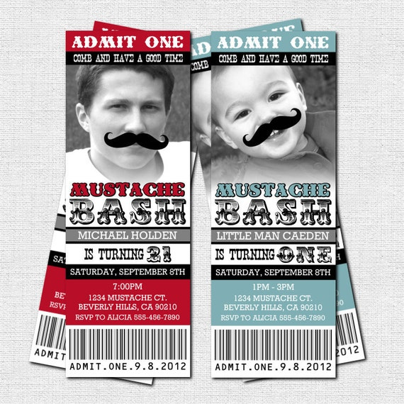 MUSTACHE TICKET INVITATIONS Birthday Little Man Bash Party - (print your own) Personalized