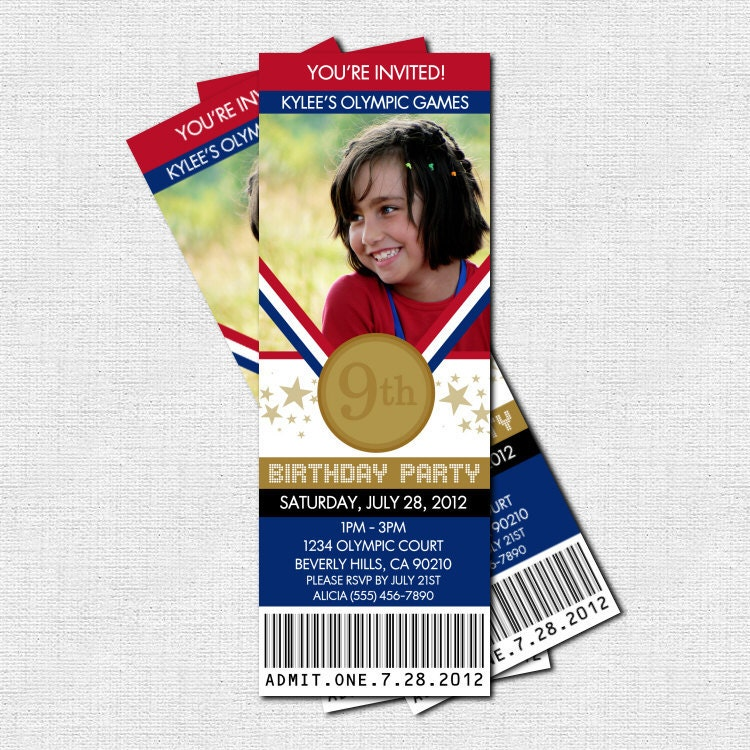 OLYMPICS TICKET INVITATIONS Birthday Party Gold by nowanorris