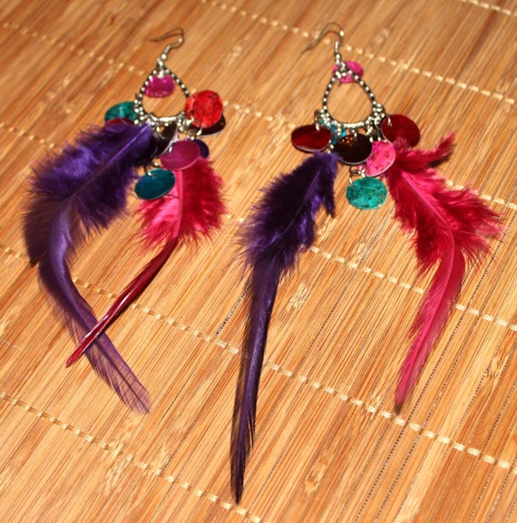 Dangling Earrings - Hipster BoHo Bright Colored Shell & Feathers