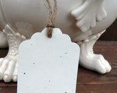 20 Gift Tags / Escort Cards Cream Fleck Cardstock With Jute Twine Ties LARGE 3 1/4 x 2 1/8