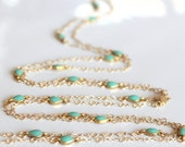 Extra long thin figure 8 chain layering necklace, turquoise enamel tiny station connectors, matte gold, delicate, feminine