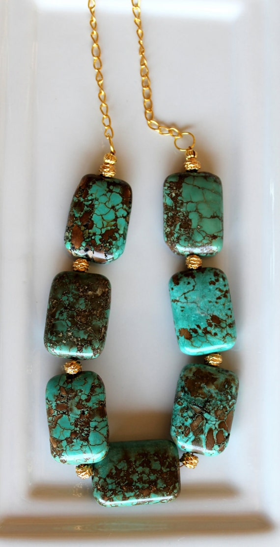 Huge Turquoise and Brown Cushion Rectangle Stone Beads, Vintage Layered Gold nugget bead bib statement necklace, organic,