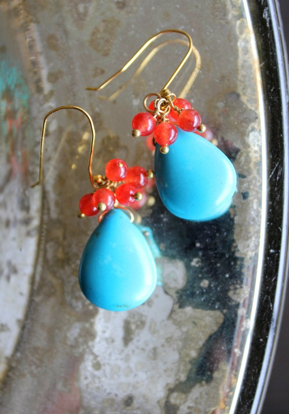 Turquoise Blue Teardrop Briolette and Red Jade beaded drop dangle earrings, beautiful contrast colors, vibrant, vivid, colorful
