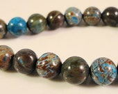 Rainbow Calsilica Gemstones 6mm Round Multicolor Brown, Gray, and Blue Gemstone Beads on a 7 1/2 Inch Strand with 31 Beads