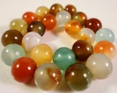 Multicolor Agate Gemstones 8mm Round Dyed Agate Multicolor Gemstone Beads on a 7 1/2 Inch Strand with 24 Beads