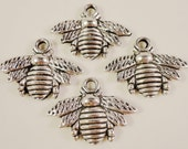Silver Bee Charms 21x16mm Antique Silver Bee Pendants, Bumble Bee Charms, Insect Charms, Bug Charms, Silver Metal Jewelry Charms, 10pcs