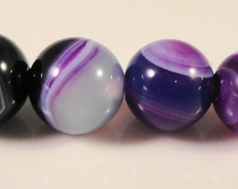 Purple Agate Gemstone 8mm Round Purple Striped Agate Semiprecious Stone Beads on a 7 1/4 Inch Strand with 23 Beads