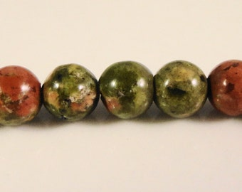 Unakite Gemstone Beads 4mm Round Terra Cotta Red and Olive Green Stone Beads for Jewelry Making 44 Loose Beads per Package