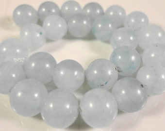 Aquamarine Gemstone Beads 8mm Round Smooth Dyed Blue Stone Beads for Jewelry Making on a 7 1/4 Inch Strand with 24 Beads