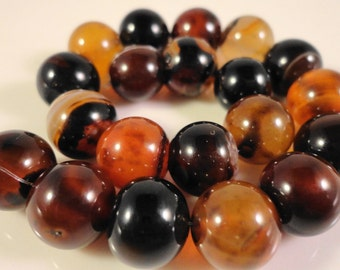 "Brown Agate Gemstone Beads 10mm Round Agate Beads, Brown Striped Agate Beads, Agate Stone Beads on a 7 1/2"" Strand with 20 Beads"