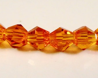 Orange Bicone Crystal Beads 4mm Small Faceted Chinese Crystal Glass Beads for Jewelry Making 100 Loose Beads per Pack