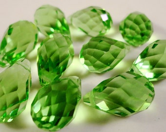 Briolette Crystal Beads 12x6mm Peridot Green Top Drilled Chinese Crystal Glass Faceted Drop Teardrop Crystal Beads 10 Loose Beads per Pack