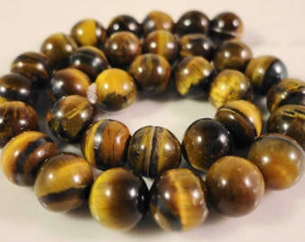 """Tiger's Eye Gemstone Beads 6mm Round Smooth Tiger Eye Stone Beads for Jewelry, Natural Brown Gemstone Beads on a 7 1/4"""" Strand with 30 Beads"""