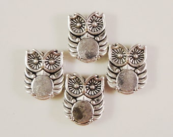 Metal Owl Beads 9x8mm Antique Silver Owl Beads, Metal Bird Spacer Beads, Jewelry Findings Beading Supplies for Jewelry Making 20 Loose Beads