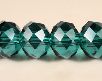 Teal Crystal Rondelle Beads 8x6mm (6x8mm) Teal Green Faceted Chinese Crystal Beads for Jewelry Making on an 8 1/4 Inch Strand with 35 Beads