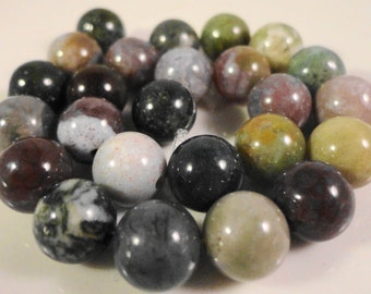 Indian Agate Gemstone Beads 8mm Round Fancy Japser Multicolor Natural Stone Beads for Jewelry Making on a 7 1/2 Inch Strand with 24 Beads