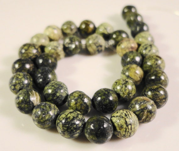 Russian Serpentine Rounds 6mm Natural Green Gemstone Beads on a 7 1/2 Inch Strand with 31 Beads